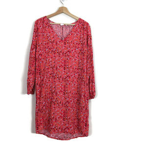 Gap Floral Shift Dress Popover V-Neck Long Sleeve